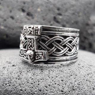 """Wikinger Ring mit Thorshammer """"ASMUND"""" aus 925 Sterling Silber 68 (21,6) / 12,1 US"""