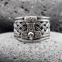 """Wikinger Ring mit Thorshammer """"ASMUND"""" aus 925 Sterling Silber 70 (22,3) / 12,9 US"""