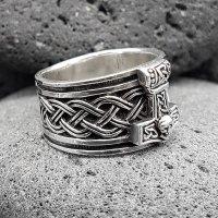 """Wikinger Ring mit Thorshammer """"ASMUND"""" aus 925 Sterling Silber 72 (23,0) / 13,9 US"""