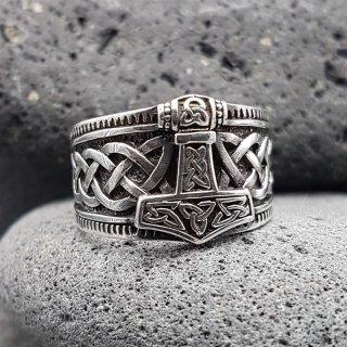 "Wikinger Ring mit Thorshammer ""ERLING"" aus 925 Sterling Silber"
