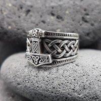 "Wikinger Ring mit Thorshammer ""ERLING"" aus 925 Sterling Silber 64 (20,4) / 10,7 US"
