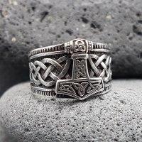 "Wikinger Ring mit Thorshammer ""ERLING"" aus 925 Sterling Silber 72 (23,0) / 13,9 US"