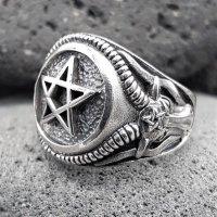 Pentagramm Ring verziert mit Ziegenköpfe aus 925...