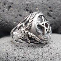 Pentagramm Ring verziert mit Ziegenköpfe aus 925 Sterling Silber