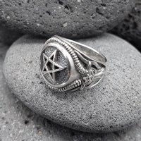 Pentagramm Ring verziert mit Ziegenköpfe aus 925 Sterling Silber 56 (17,8) / 7,6 US