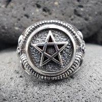 Pentagramm Ring verziert mit Ziegenköpfe aus 925 Sterling Silber 59 (18,8) / 8,7 US