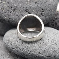 Pentagramm Ring verziert mit Ziegenköpfe aus 925 Sterling Silber 64 (20,4) / 10,7 US