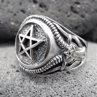 Pentagramm Ring verziert mit Ziegenköpfe aus 925 Sterling Silber 72 (23,0) / 13,9 US