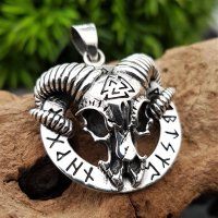 Steinbock mit Valknut auf einem Runenring aus 925 Sterling Silber