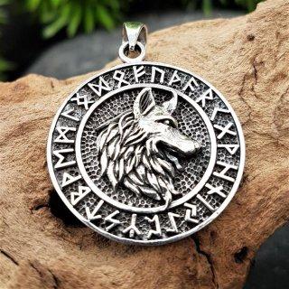 """Wolfskopf Schmuckanhänger """"BERGWIG"""" im Runenkreis aus 925 Sterling Silber"""