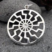 """Schwarze Sonne """"EDDA"""" Schmuck Amulett aus 925er Sterling Silber"""