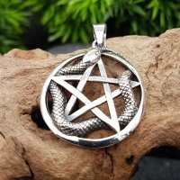 Pentagramm Amulett mit Schlange aus 925 Sterling Silber