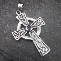 Keltenkreuz Anhänger mit schwarzem Stein aus 925 Sterling Silber
