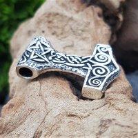 """Silberanhänger - Thorshammer """"ALAN""""  mit Pentagramm - 925 Sterling Silber"""