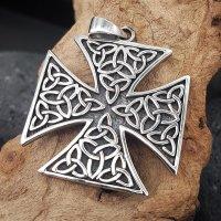 Eisernes Kreuz Anhänger verziert mit keltischen Knoten aus 925er Sterling Silber