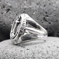 Anker Ring mit nordischen Runen aus 925 Sterling Silber 54 (17,2) / 6,8 US