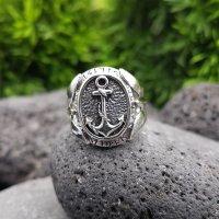 Anker Ring mit nordischen Runen aus 925 Sterling Silber 62 (19,7) / 9,9 US