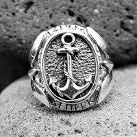 Anker Ring mit nordischen Runen aus 925 Sterling Silber 66 (21,0) / 11,4 US