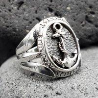 Anker Ring mit nordischen Runen aus 925 Sterling Silber 68 (21,6) / 12,1 US