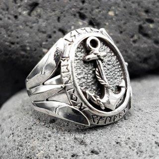 Anker Ring mit nordischen Runen aus 925 Sterling Silber 72 (23,0) / 13,9 US