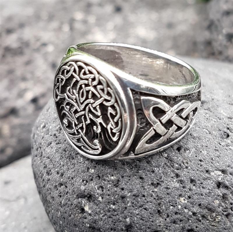 925er Sterling Silver Wikinger Lebensbaum Yggdrasil Baum des Lebens Kelten Ring