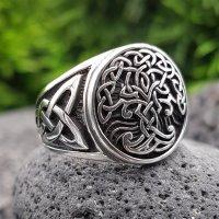 Yggdrasil Ring mit keltische Knoten aus 925 Sterling Silber 56 (17,8) / 7,6 US