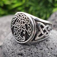 Yggdrasil Ring mit keltische Knoten aus 925 Sterling Silber 66 (21,0) / 11,4 US