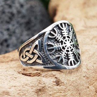 """""""Helm of Awe"""" Ring verziert mit keltische Knoten aus 925 Sterling Silber 56 (17,8) / 7,6 US"""