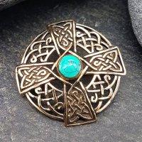 Keltisches Kreuz Fibel mit Türkis aus Bronze