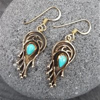 Bronze Flammen Ohrhänger mit Türkis Steine