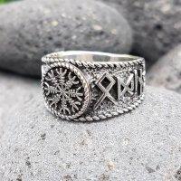 Helm of Awe Ring mit nordischen Runen aus 925 Sterling...