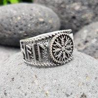 Helm of Awe Ring mit nordischen Runen aus 925 Sterling Silber
