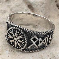 Helm of Awe Ring mit nordischen Runen aus 925 Sterling Silber 56 (17,8) / 7,6 US