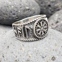Helm of Awe Ring mit nordischen Runen aus 925 Sterling Silber 62 (19,7) / 9,9 US