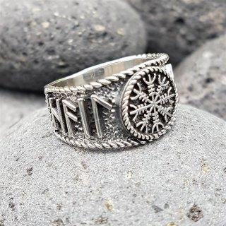 Helm of Awe Ring mit nordischen Runen aus 925 Sterling Silber 64 (20,4) / 10,7 US