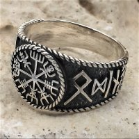 Vegvisir Ring mit nordischen Runen aus 925 Sterling Silber 56 (17,8) / 7,6 US