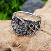 Vegvisir Ring mit nordischen Runen aus 925 Sterling Silber 59 (18,8) / 8,7 US