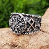 Vegvisir Ring mit nordischen Runen aus 925 Sterling Silber 70 (22,3) / 12,9 US