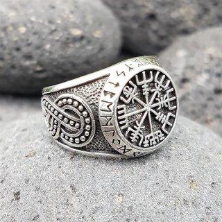 """Vegvisir Ring """"ODEN"""" verziert mit der Midgardschlange aus 925 Sterling Silber"""
