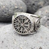 """Vegvisir Ring """"ODEN"""" verziert mit der Midgardschlange aus 925 Sterling Silber 56 (17,8) / 7,6 US"""