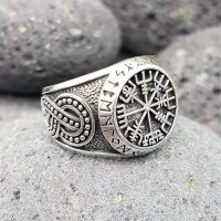 """Vegvisir Ring """"ODEN"""" verziert mit der Midgardschlange aus 925 Sterling Silber 58 (18,4) / 8,4 US"""