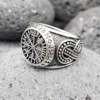 """Vegvisir Ring """"ODEN"""" verziert mit der Midgardschlange aus 925 Sterling Silber 70 (22,3) / 12,9 US"""