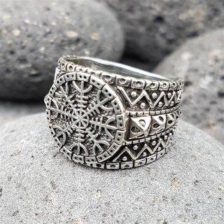 """Helm of Awe Ring """"AEGIS"""" aus 925 Sterling Silber"""