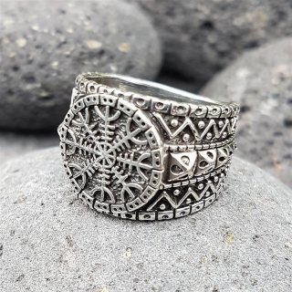 "Helm of Awe Ring ""AEGIS"" aus 925 Sterling Silber 68 (21,3) / 11,8 US"