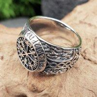 Vegvisir Ring verziert mit Mjölnir aus 925 Sterling Silber 54 (17,2) / 6,8 US