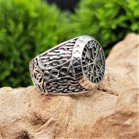Vegvisir Ring verziert mit Mjölnir aus 925 Sterling Silber 59 (18,8) / 8,7 US
