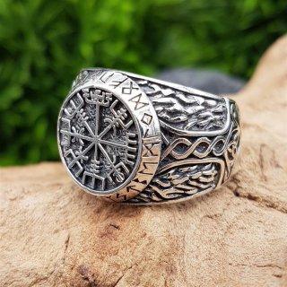 Vegvisir Ring verziert mit Mjölnir aus 925 Sterling Silber 67 (21,3) / 11,8 US