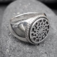 Schwarze Sonne Ring aus 925 Sterling Silber 70 (22,3) / 12,9 US