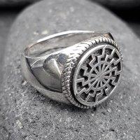 Schwarze Sonne Ring aus 925 Sterling Silber 72 (23,0) / 13,9 US