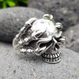 "Totenkopfring ""HELHEIM"" aus 925 Sterling Silber 60 (19,1) / 9,1 US"